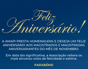 Parabéns, Magistrados(as) aniversariantes de novembro!